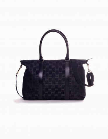 OLALLA: Navy blue jacquard and cowhide bowling bag