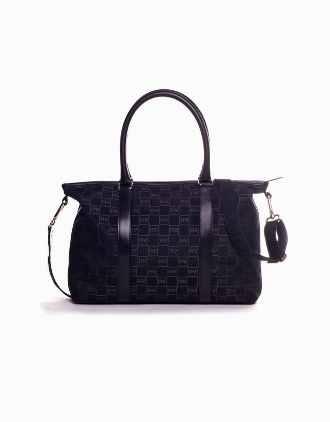 OLALLA MARINO: Navy blue jacquard and cowhide bowling bag