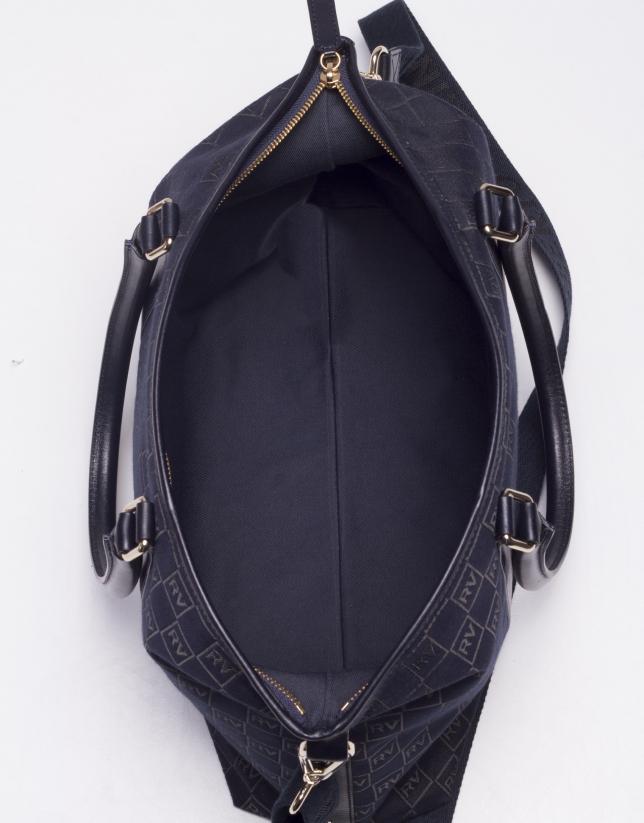 OLALLA MARINO: Navy blue jacquard and cowhide bowling bag