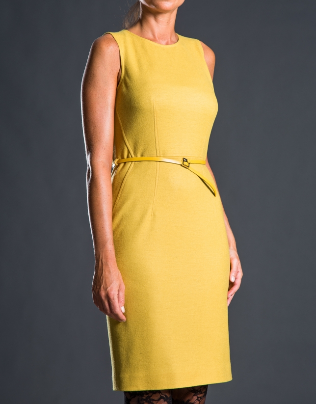 Mustard fitted dress with belt