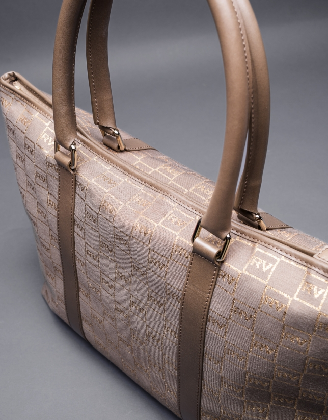 Jacquard Olalla bag with gilded lurex, cowhide and RV  logo
