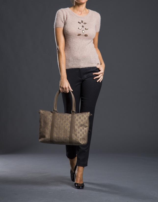 Shopping Olalla Jacquard RV gris taupe avec lurex or et cuir vachette
