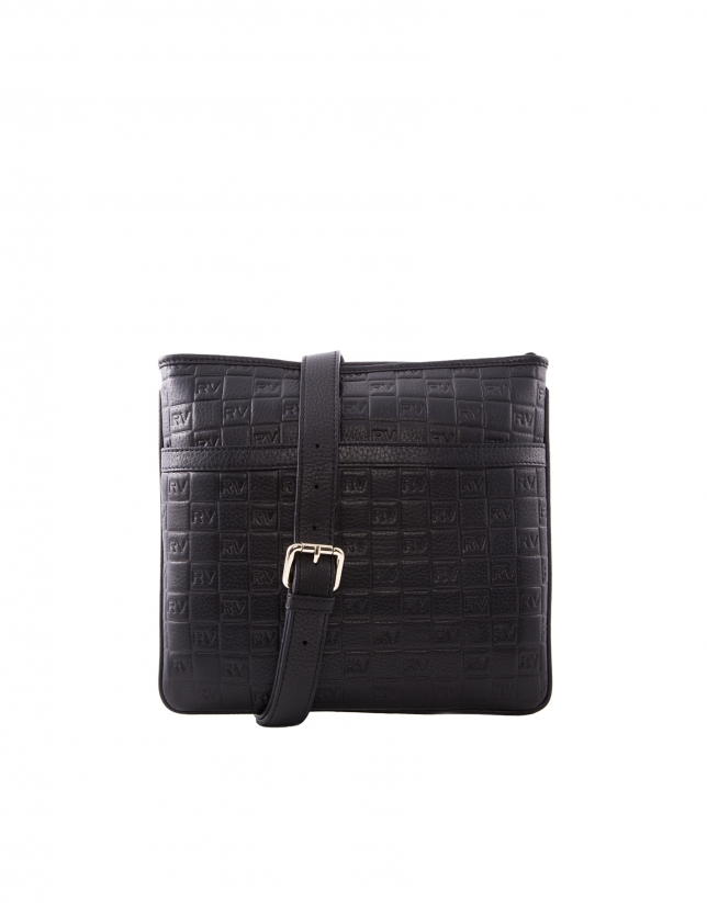 Lara black leather bag with RV logo