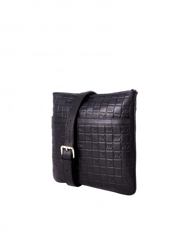 Lara black leather bag with RV logo