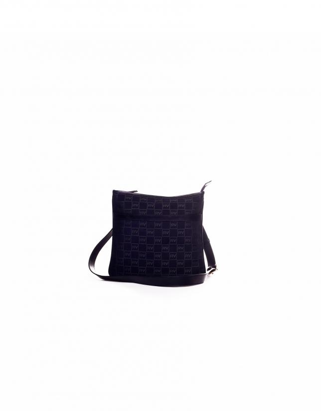 LARA MARINO: Navy blue jacquard and cowhide shoulder bag
