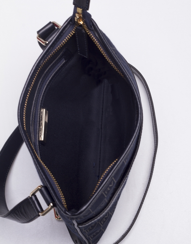 LARA MARINO: Navy blue jacquard and cowhide shoulder bag