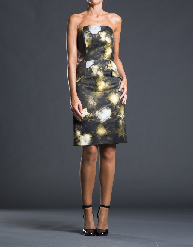 Black floral print dress