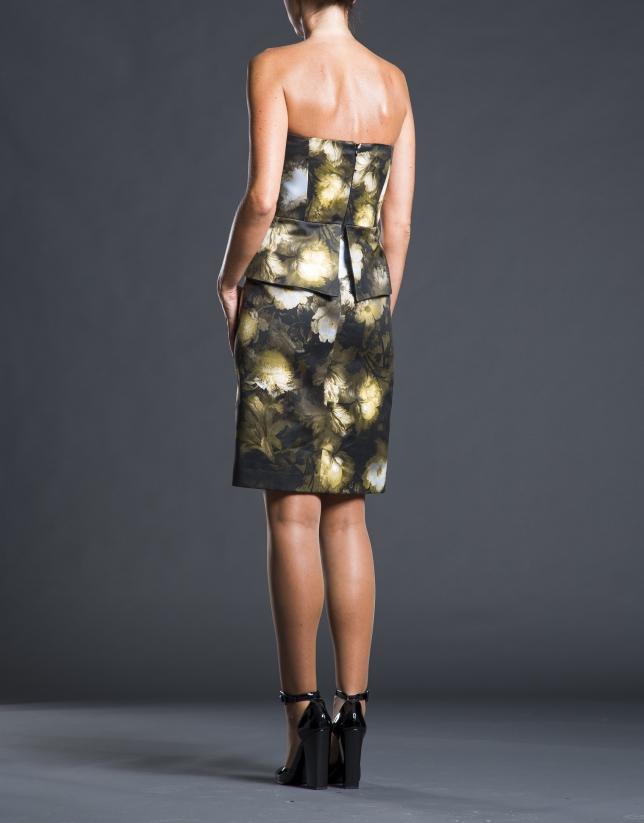 Robe à motif floral noir
