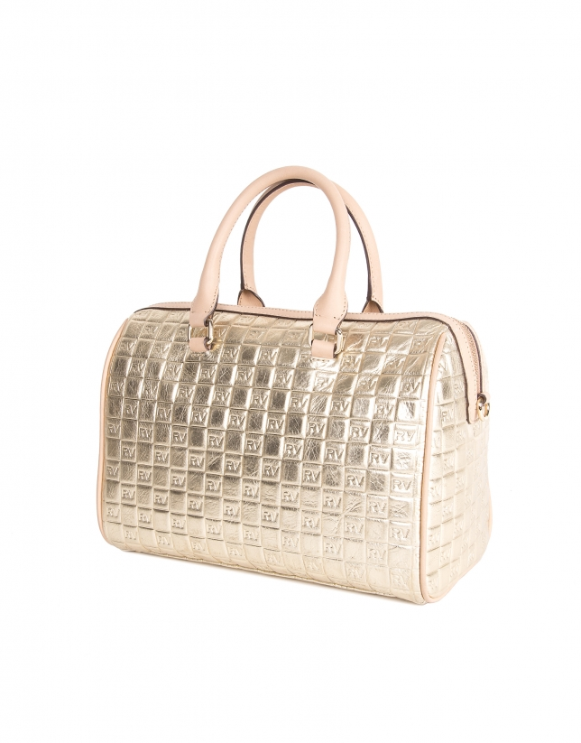 Gold embossed leather bowling bag