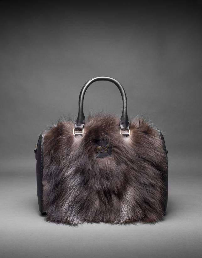 Black napa Carmen Fox bag with brown fox fur