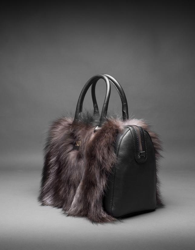 Black napa Carmen Fox bag with brown fox fur