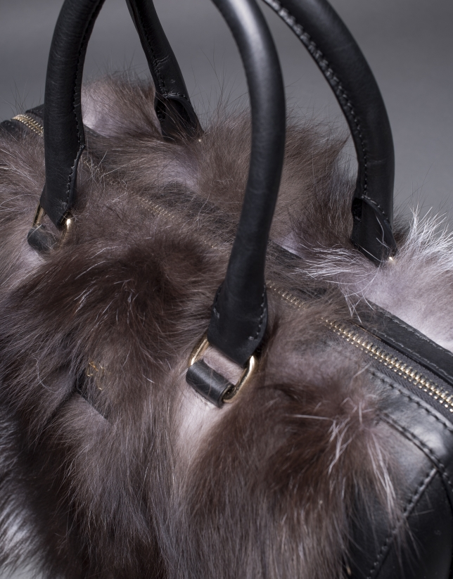 Bowling Carmen Fox cuir nappa noir et fourrure renard aux tons ambrés