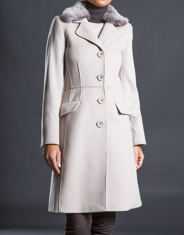 Beige coat with fur collar