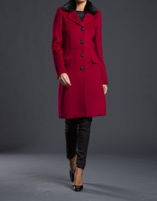 Manteau col fourrure rouge