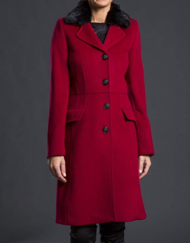 Red coat with fur collar