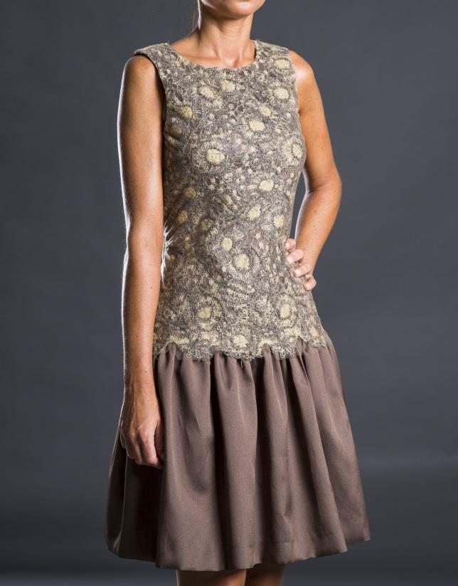 Beige - gold guipure dress