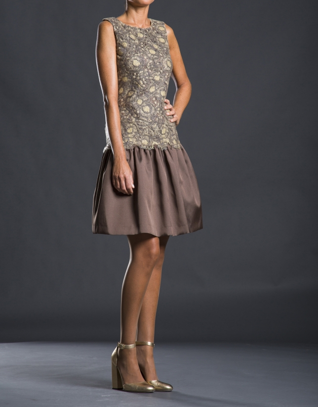 Beige - gold guipure dress