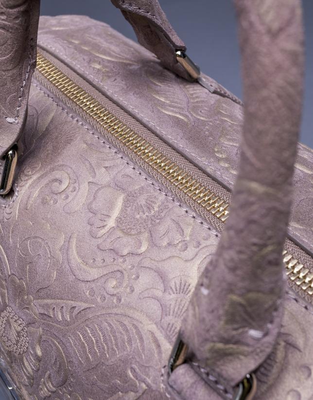 Bolso Carmen Barroco en piel topo brocada y metalizada