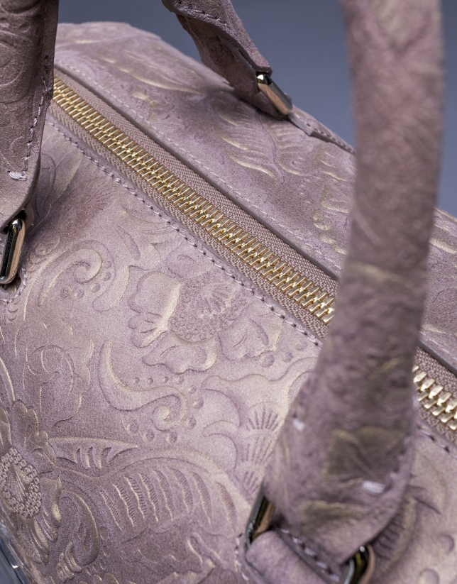 Bowling Carmen Baroque cuir gris taupe Brocart métallisé