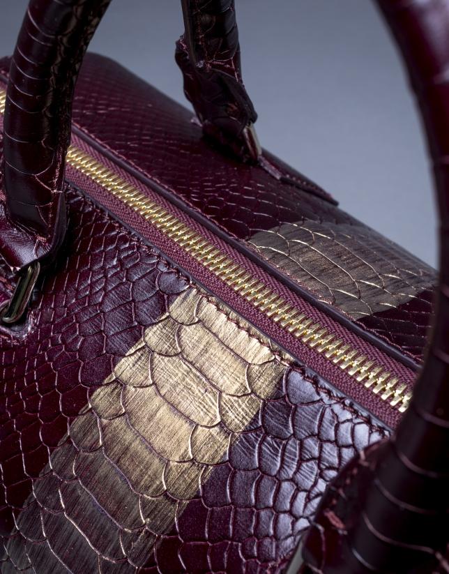 Bowling Carmen Andrómeda cuir bordeaux imprimé serpent avec frange or vieilli