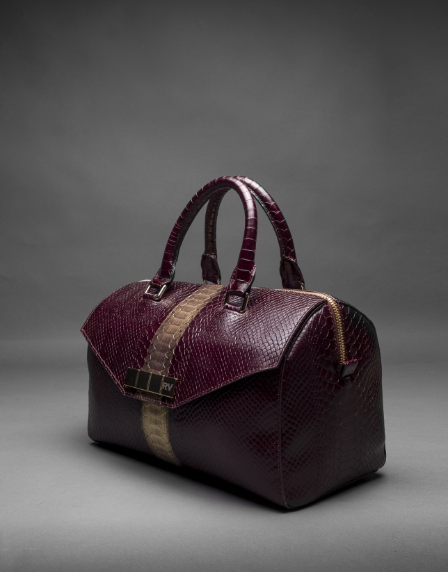 Burgundy leather Carmen Andromeda bag with embossed snake and old gold stripe