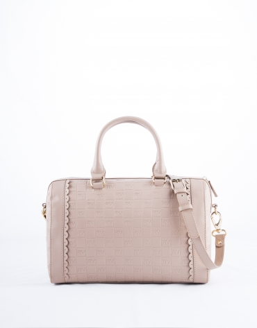 Nude Carmen Onda leather  bowling bag with embossed logo