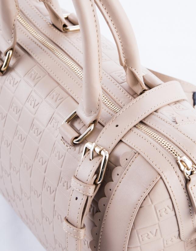 Carmen Onda : sac bowling en cuir vachette, couleur nude, gravure RV
