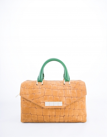 Camel leather Carmen Copacabana bowling bag