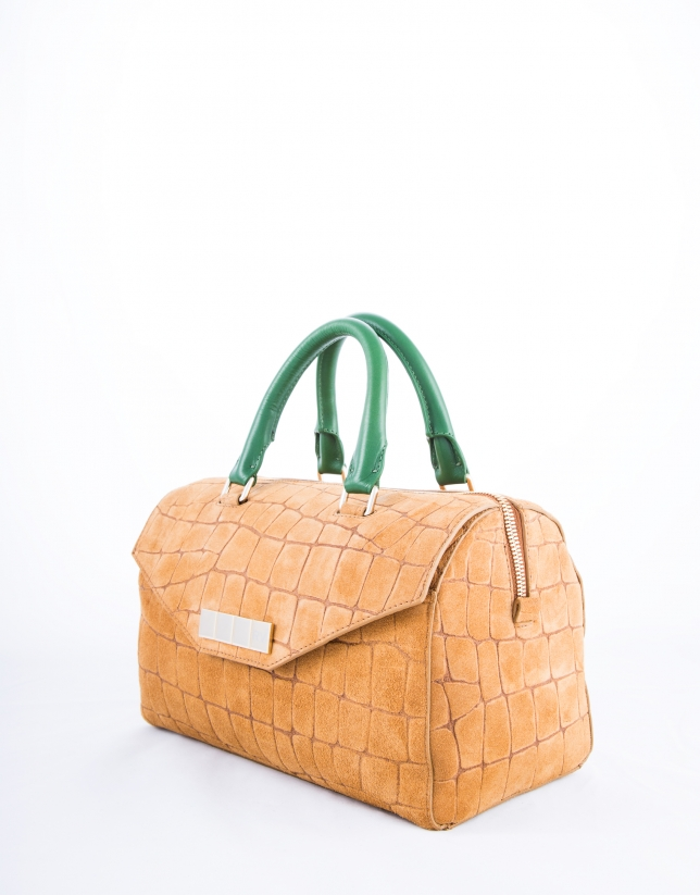 Carmen Copacabana : sac bowling, cuir vachette, couleur camel, croûte de cuir imprimé crocodile