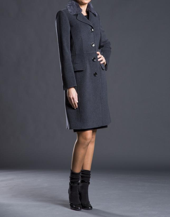 Grey overcoat with fur collar