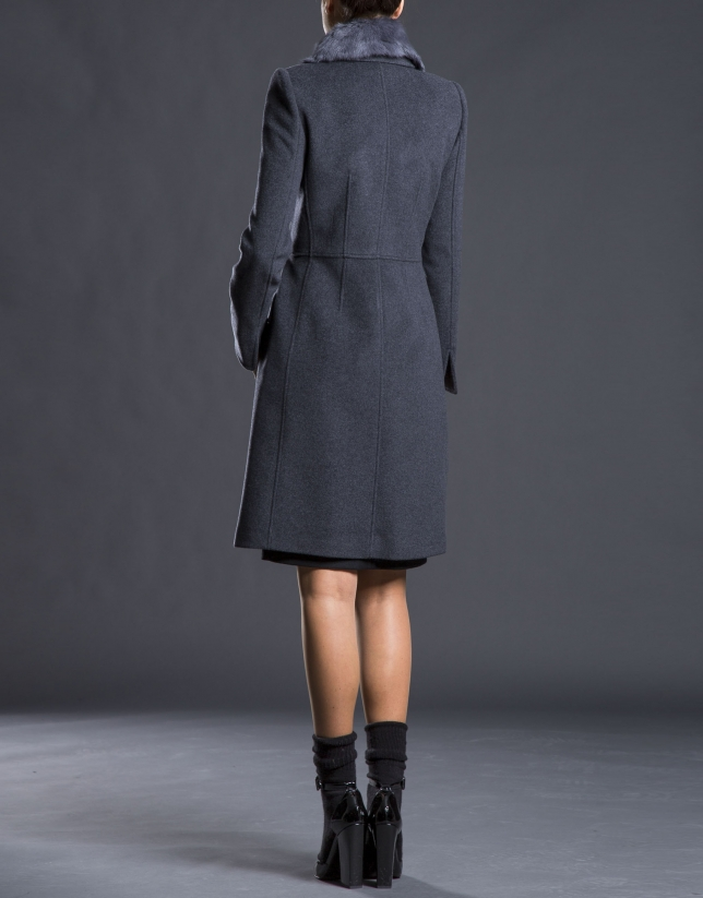 Grey overcoat with fur collar