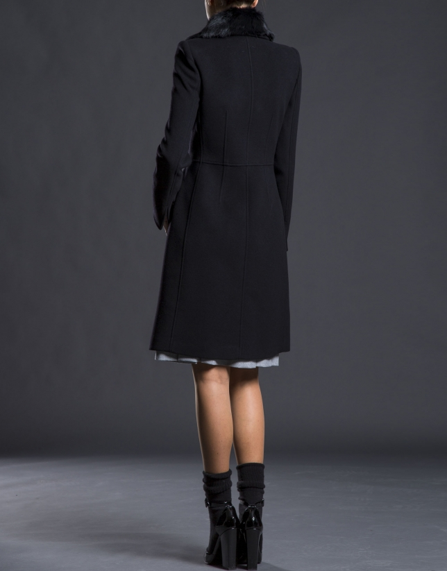 Black overcoat with fur collar