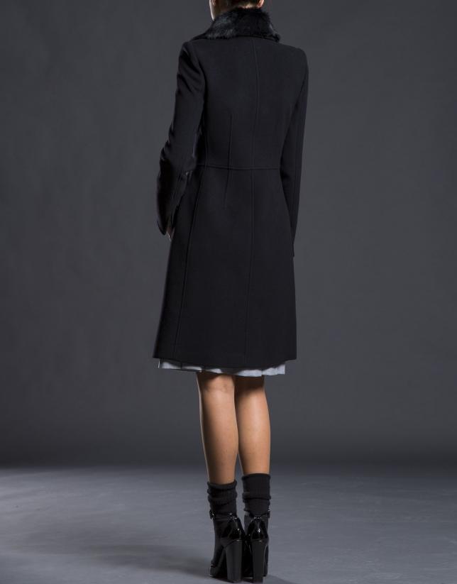 Black overcoat with fur collar