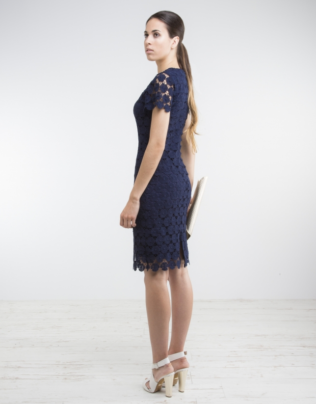 Blue short sleeve lace dress