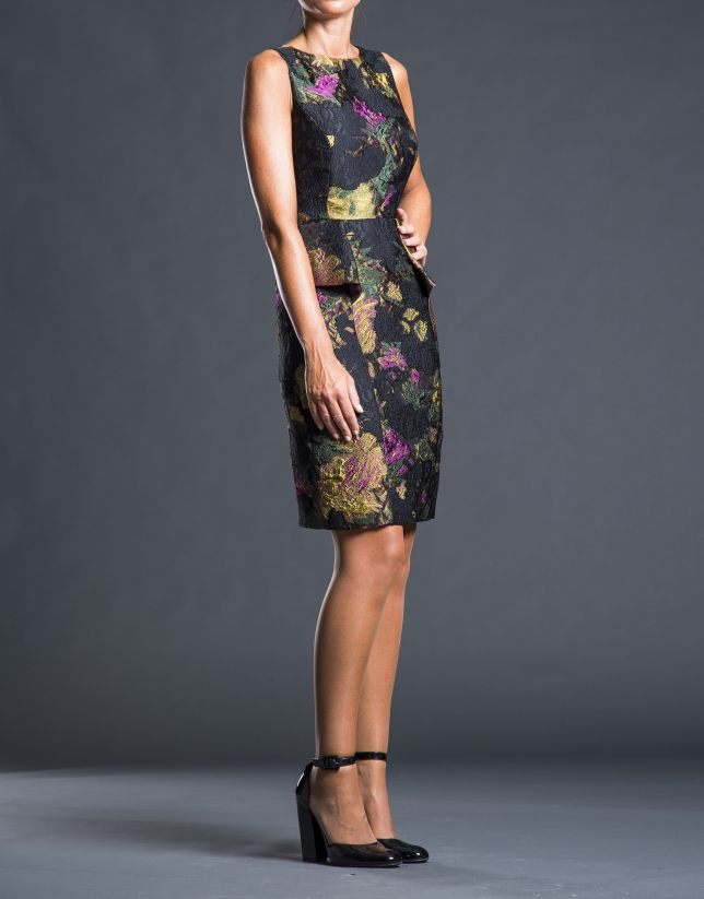 Black - mustard jacquard dress