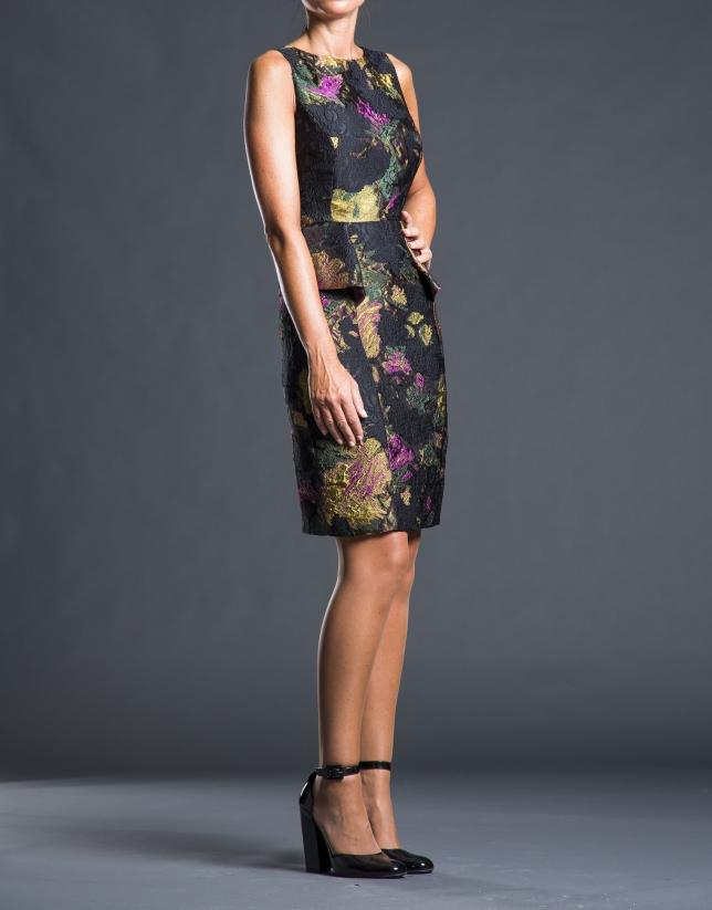 Black - mustard jacquard dress