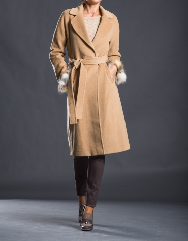 Wool and fox skin coat