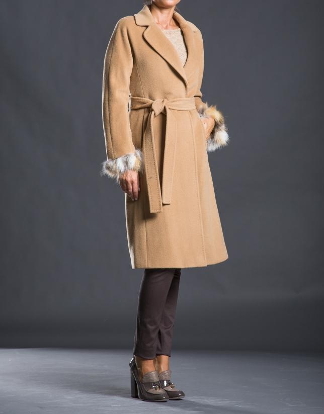 Manteau laine fourrure renard