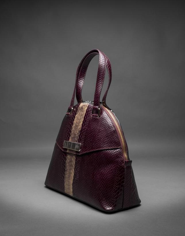 Scarlet leather Leonor Andrómeda bag with embossed snake and old gold stripe