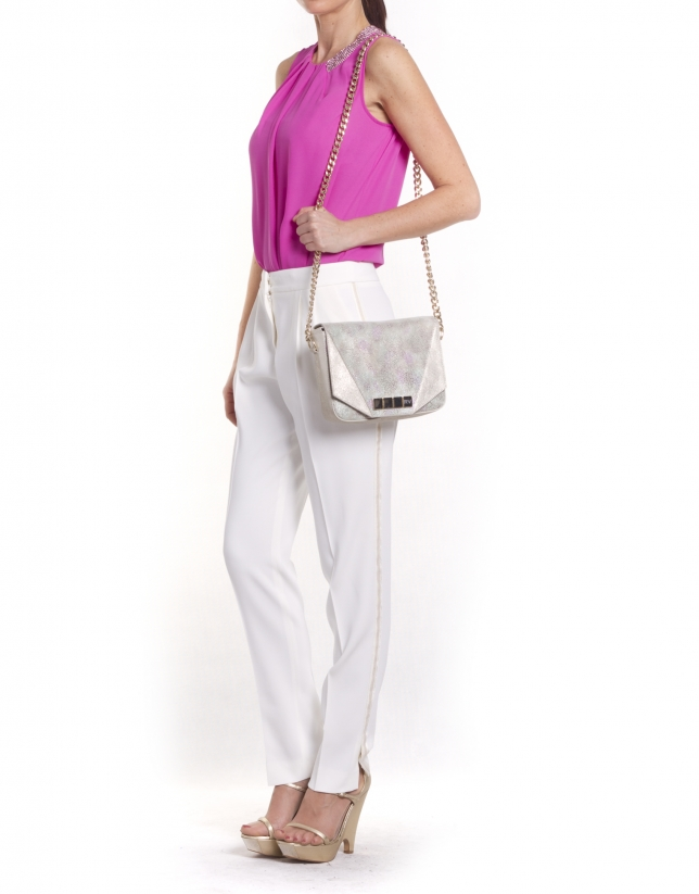 ALICIA STYLISH: Multi-colored stingray fantasy leather shoulder bag