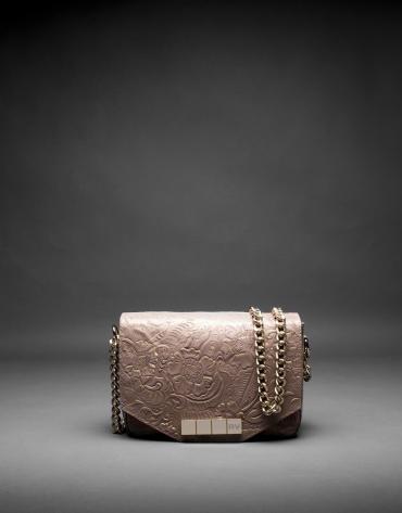 Sac Alicia Baroque cuir gris taupe Brocart métallisé