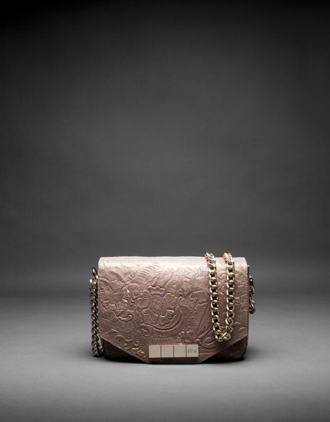 Bolso Alicia Barroco en piel topo brocada y metalizada