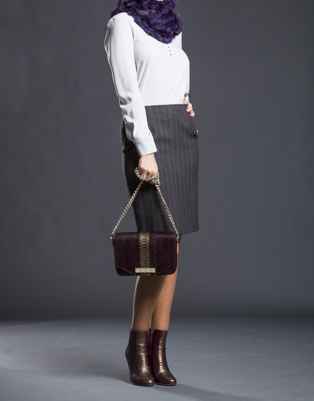 Burgundy leather Alicia Andromeda bag  with embossed snake and old gold stripe