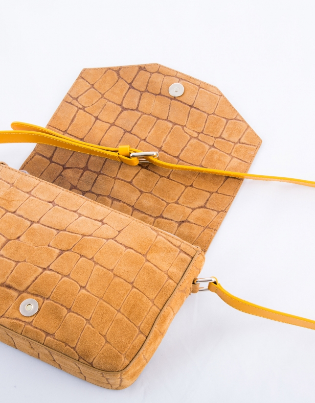 Alicia Copacabana : sac en cuir vachette, couleur camel, croûte de cuir imprimé crocodile