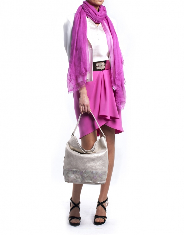 ERIKA STYLISH:  Multi-colored stingray fantasy leather hobo bag