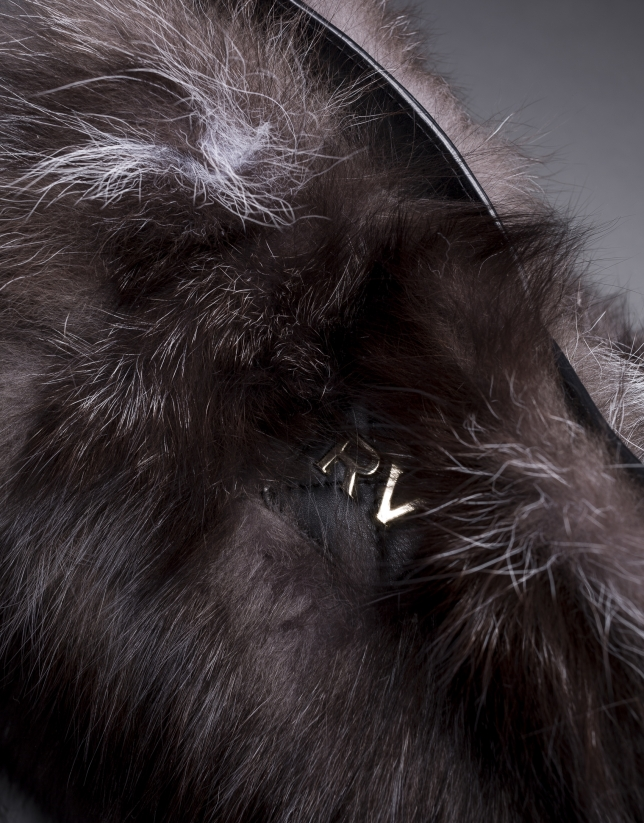 Black napa Erika Fox bag with brown fox fur