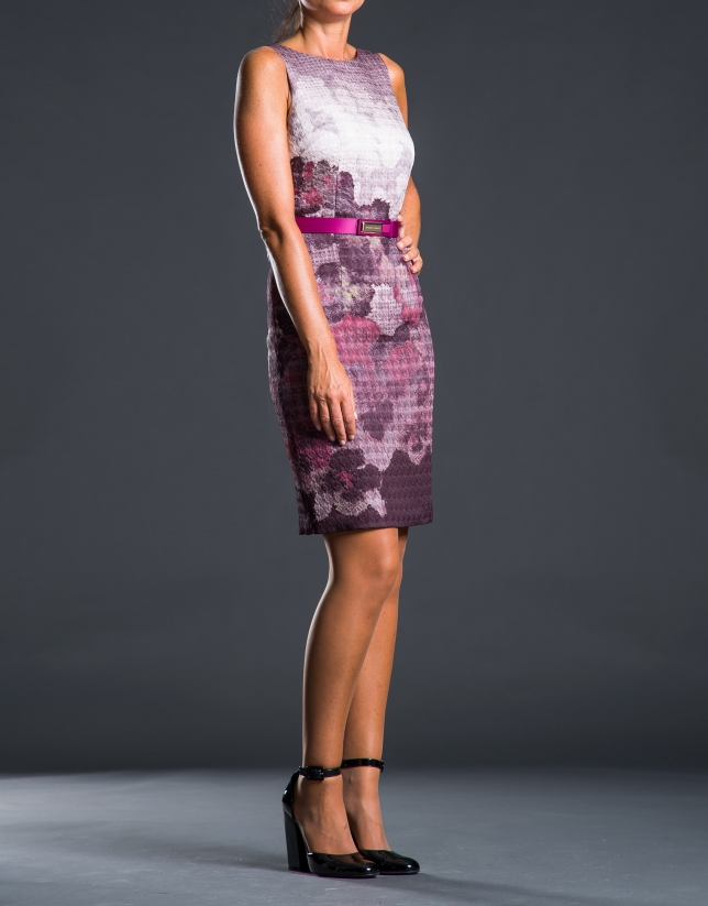 Gray dress with aubergine print
