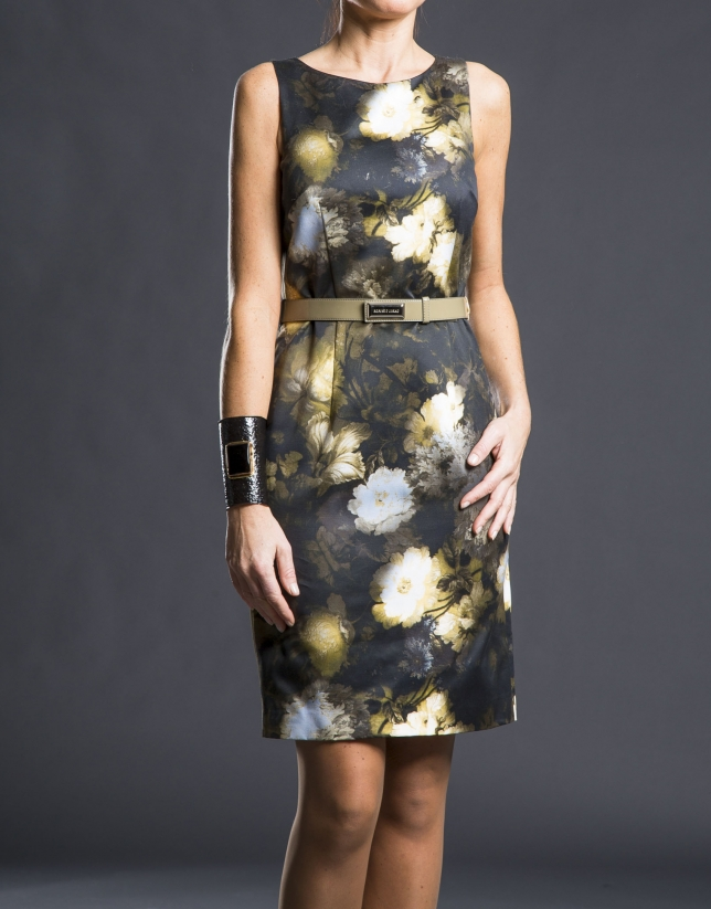 Gray dress with floral print