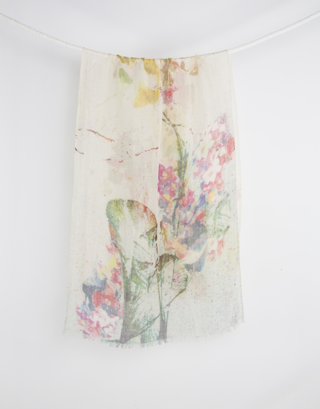 Green floral print scarf