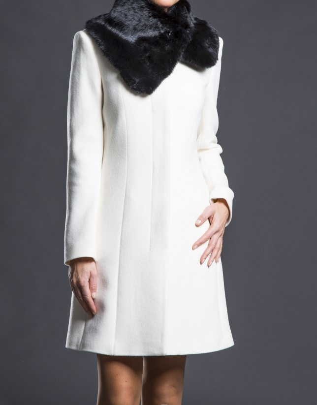 Cream rabbit fur coat